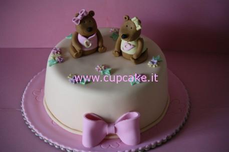torta di battesimo con orsi